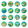 Long hands giving flat icons set