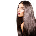 Long healthy straight hair model brunette girl portrait Royalty Free Stock Photography