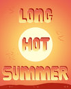 Long hot summer an illustration of the words with a sunset sky background hills twinkling lights and birds flying away into Stock Images