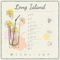 Long island iced tea. Cocktail infographic set. Vector illustration. Colorful watercolor background Royalty Free Stock Photo