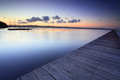Long jetty australia at dusk and tuggerah lakes after sunset exposure Royalty Free Stock Photography