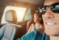 Long journey in car with daddy Royalty Free Stock Photo