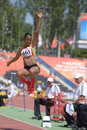 Long jump donetsk ukraine july kristal liburd saint kitts and nevis in competitions during world youth championships in donetsk Royalty Free Stock Photography