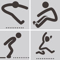 Long jump icons summer sports set Stock Photos