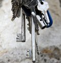Long key and other keys to open the door lock Royalty Free Stock Photo
