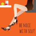 Long legged girl sitting at the table and drink juce concept poster Stock Images