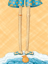 Long legs at the beach a hand drawn vector illustration of a pair of lanky with flip flops standing edge of ocean over an orange Royalty Free Stock Images
