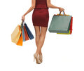 Long legs with shopping bags picture of woman s Royalty Free Stock Photography