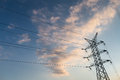 A long line of electrical transmission towers Royalty Free Stock Photo