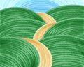 Long long hilly road modern painting and with blue sky Stock Photos