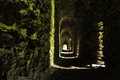 Long narrow tunnel in medieval castle Royalty Free Stock Photo