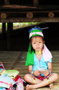 Long neck child thai girl in traditional clothes karen village chiang mai thailand Stock Image