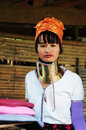 Long neck woman thai in traditional clothes karen village chiang mai thailand Royalty Free Stock Photography