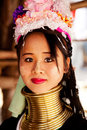 Long neck woman in thailand chian mai march street portrait of a young there are copper rings on her weighting kilograms she has Stock Photography