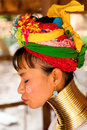 Long neck woman in thailand chian mai march street portrait of a young there are copper rings on her weighting kilograms she has Royalty Free Stock Photography
