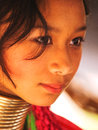 Long neck woman in thailand chian mai march street portrait of a young there are copper rings on her weighting kilograms she has Stock Images