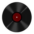 Long play vinyl record isolated - red blank label Royalty Free Stock Photo