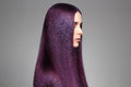 Long purple coloring Hair Beautiful woman