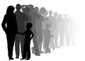 Long queue eps editable vector cutout illustration of a of people waiting patiently with all figures as separate objects Stock Photo