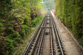 Long rail way towards ahead Royalty Free Stock Image