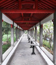Long red corridor a in a beauty spot in china Stock Images