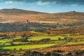 Long road in hills at Dartmoor Park, Devon, UK Royalty Free Stock Photo