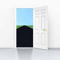 Long road indicates door frames and doorframe showing the future distant Stock Photo