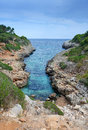Long rocky bay on majorca island tropical landscape of coast Stock Photos