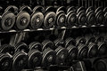Row of Hand Barbells Royalty Free Stock Photo