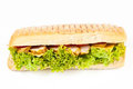 Long sandwich with meat, tomatoes and lettuce Stock Image