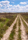 Long sandy path in a rural landscape Royalty Free Stock Photos