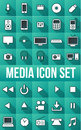 Long shadow media icon set vector drawing icons Stock Photography