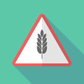 Long shadow warning sign with a wheat plant icon