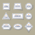 Long shadow white geometrical weekdays stickers set