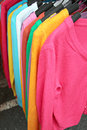 Long sleeves multicolored in shop is a colorful Stock Images