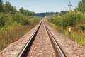 Long straight railway perspective with poles green grass and blue sky Royalty Free Stock Images