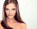 Long straight shiny hair beautiful girl with brown and bright lipstick Royalty Free Stock Image