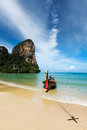 Long tail boat on beach, Thailand Stock Images