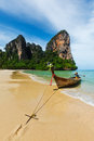 Long tail boat on beach thailand tropical krabi Stock Images