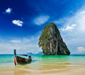 Long tail boat on beach thailand tropical vacation holiday concept tropical krabi Royalty Free Stock Photo