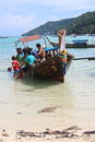 Long tail boat the known as ruea hang yao เรือหางยาว in the thai language is a type of watercraft native to Stock Image