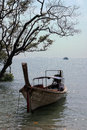 Long tail boat at rallay beach krabi thailand Royalty Free Stock Photo