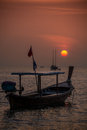 Long tail boat and sunset phangnga koh lipe tropical island thailand asia adventure Stock Photography