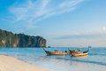 Long tail boats andaman sea thailand tropical beach thailand on beach andaman sea Royalty Free Stock Photography