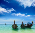 Long tail boats on beach, Thailand Royalty Free Stock Photos