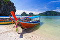Long tail boats on the coast of andaman sea in thailand Stock Photo