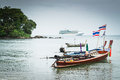 Long tail boats with a cruise on andaman sea scenery of and Royalty Free Stock Photography