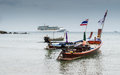 Long tail boats with a cruise on andaman sea scenery of and Royalty Free Stock Photos