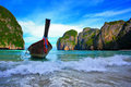 Long tail boats in Maya Bay Royalty Free Stock Photos