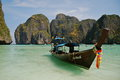 Long tailed boat thailand ruea hang yao in phi phi island Royalty Free Stock Images